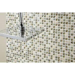 Wickes Ivory Glass & Stone Mosaic Tile - 300 x 300mm