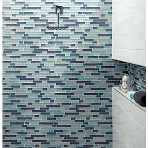 Wickes Aqua Glass Linear Mosaic Tile - 300 x 300mm