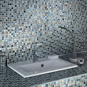 Wickes Shimmer Hammered Grey Glass Mosaic Tile - 300 x 300mm