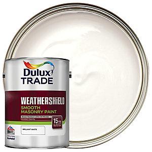 Dulux Trade Weathershield Smooth Masonry Paint - Pure Brilliant White 5L