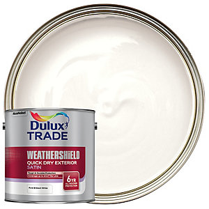 Dulux Trade Weathershield Quick Dry Exterior Satin Paint - Pure Brilliant White 2.5L