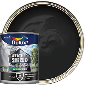 Dulux Weathershield Exterior Multi Surface Quick Dry Satin Paint - Black 750ml
