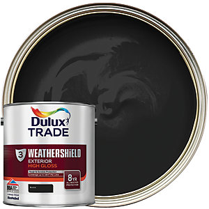 Dulux Trade Weathershield Exterior Gloss Paint - Black 2.5L