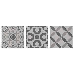 Wickes Winchester Patchwork Grey Ceramic Tile 200 x 200mm Sample