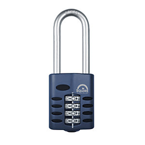 Squire Combination Padlock with Extra Long Hardened Steel Shackle - 50mm