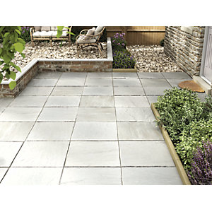 Marshalls Indian Sandstone Riven Grey Multi Paving Slab 600 x 600 x 22 mm