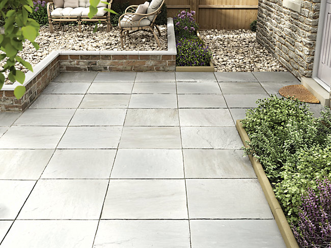 Marshalls Indian Sandstone Riven Grey Multi Paving Slab