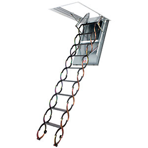 Image of Fakro 3m LSF Fire Resistant Metal Loft Ladder 70 x 90cm
