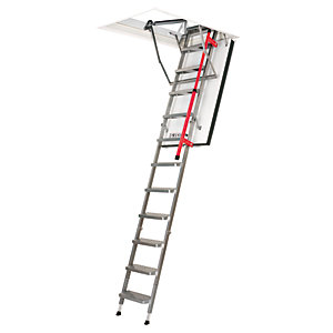 Image of Fakro 2.8m LMF Fire Resistant Metal Loft Ladder 60 x 120cm