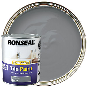 Ronseal One Coat Tile Paint - Satin Granite Grey 750ml