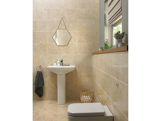 Wickes Amalfi Mocca Beige Ceramic Tile 360 X 275mm