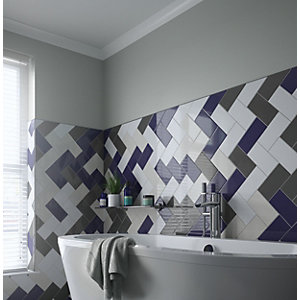 Wickes Cosmopolitan Grey Ceramic Wall Tile 200 x 100mm