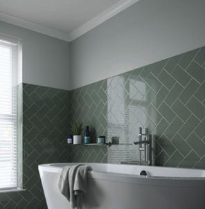 Wickes Cosmopolitan Sage Ceramic Tile 200 x 100mm | Wickes.co.uk