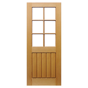 Wickes Geneva Internal Pre Finished Glazed 5 Panel Oak Veneer Door - 1981 x 762mm