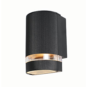 Zinc Helios 1 Light Black Wall Lantern 1X GU10 or LED Bulb