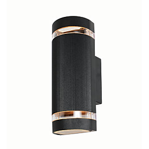 Zinc Helios 2 Light Black Wall Lantern 2X GU10 or LED Bulb