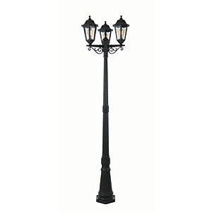 Coast Bianca Tall Post Lantern Black - 3 x 60W