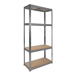 Image of Rb Boss Galvanised Shelf Kit 4 Wood Shelves - 1600 x 750 x 350mm 175kg Udl