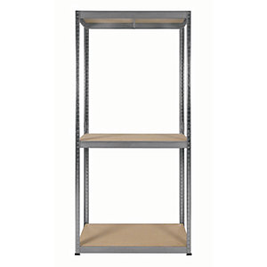 Image of Rb Boss Galvanised Shelf Kit 3 Wood Shelves - 1800 x 900 x 300mm 300kg Udl