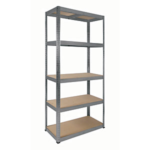 Image of Rb Boss Galvanised Shelf Kit 5 Wood Shelves - 1800 x 900 x 400mm 250kg Udl