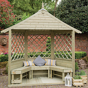 Forest Garden Half Burford Lattice Corner Garden Arbour - 2810 x 1240 mm