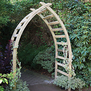 Image of Forest Garden Whitby Gothic Slatted Wooden Garden Arch - 1540 x 760 mm