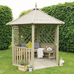 Image of Forest Garden Burford Lattice Panel Timber Gazebo - 2810 x 2450 mm - with Assembly