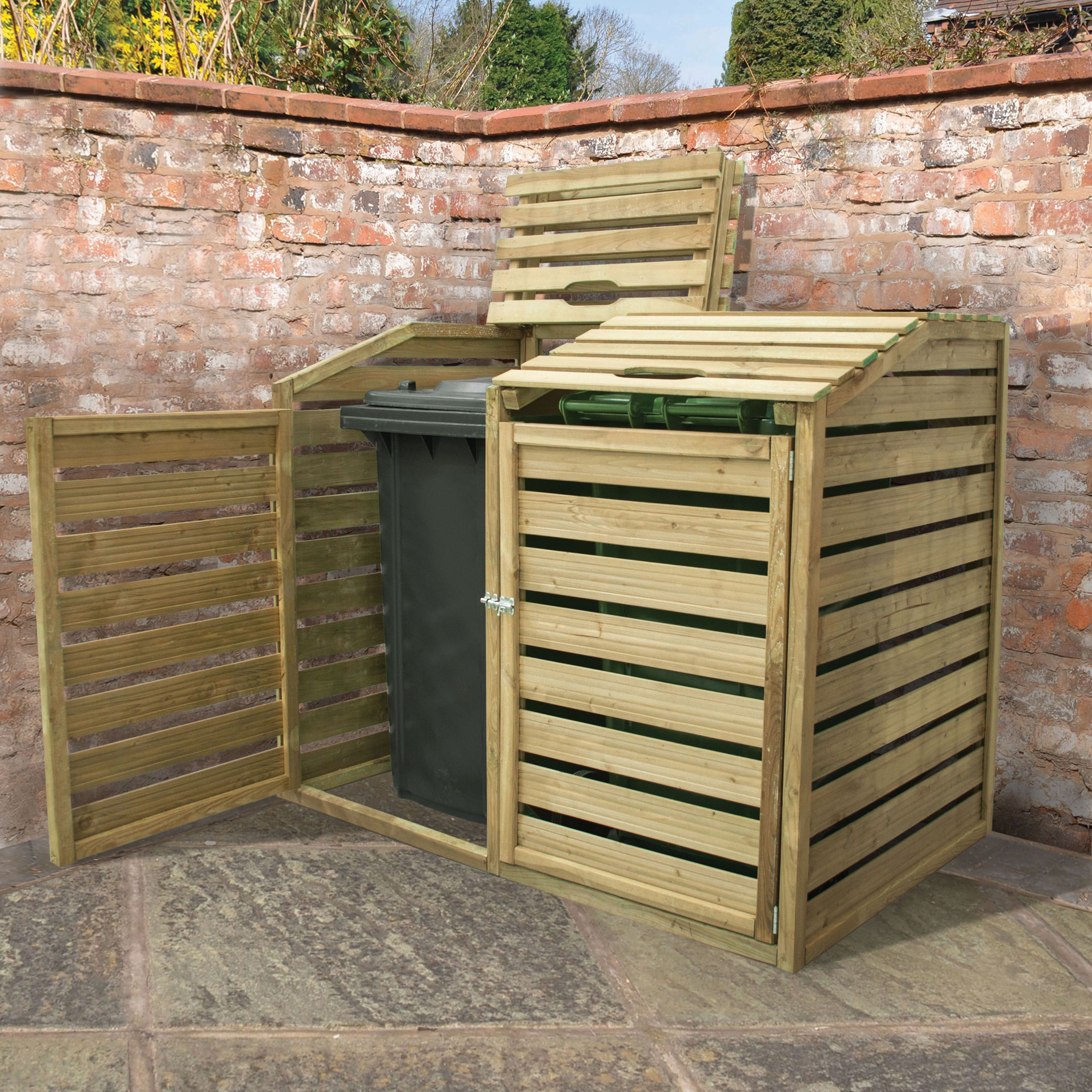 Forest Garden Timber Double Wheelie Bin Storage - 5 x 3 ft | Wickes.co.uk & Forest Garden Timber Double Wheelie Bin Storage - 5 x 3 ft | Wickes ...