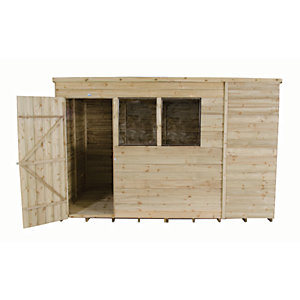 Image of Forest Garden 10 x 6 ft Pent Overlap Pressure Treated Shed