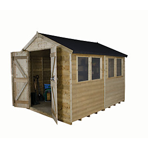 Forest Garden 10 x 8 ft Apex Tongue & Groove Pressure Treated Double Door Shed