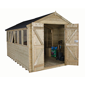 Forest Garden 12 x 8 ft Apex Tongue & Groove Pressure Treated Double Door Shed