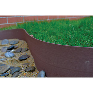 Image of Rowlinson Ultim8 Edge Timber Effect PVC Border Edging Brown Pack of 2 - 150 x 6000 mm