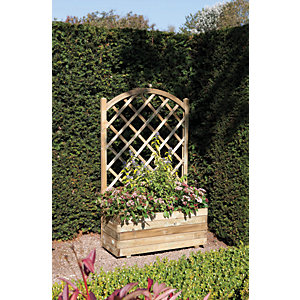 Rowlinson Pressure Treated Rectangular Planter with Lattice - 900mm x 1.4m