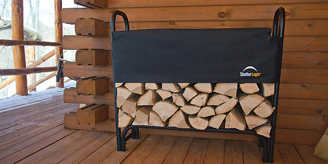 Coal and firewood logs