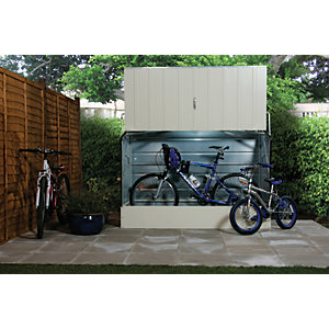 Image of Trimetals 6 x 3 ft Protectacycle PVC Coated Galvanised Steel Bike Storage Without Floor Cream