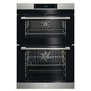 Image of AEG Surround Cook Double Tower Stainless Steel Electric Oven DCK731110M