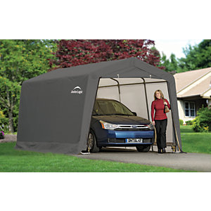 Image of Rowlinson Shelterlogic Polythene Peak Style Auto Shelter Grey - 10 x 20 ft