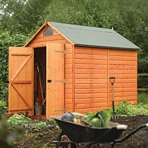 Rowlinson 8 x 6 ft Apex Security Shed with Double Doors & Apex Window