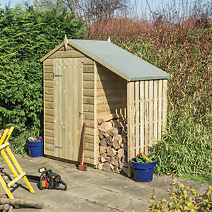Rowlinson 4 x 3 ft Oxford Small Apex Shiplap Shed with Side Storage