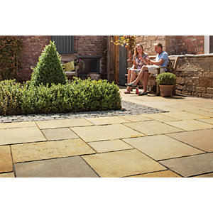 Image of Marshalls Aluri Limestone Riven Rustic Ochre Mixed Size Paving - 11.2 m2 pack