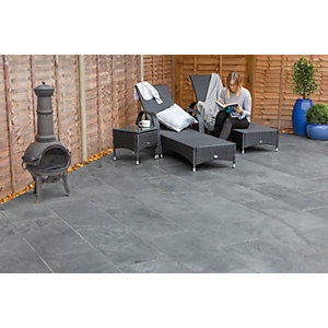 Marshalls Casarta Slate Textured Black Paving Slab Mixed Size - 17.79 m2 pack