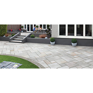 Marshalls Fairstone Sawn Versuro Smooth Antique Silver Paving Slab Mixed Size - 11.8 m2 pack
