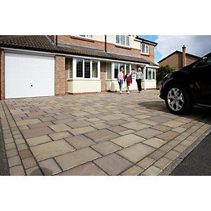 Marshalls Magnasett Textured Driveway Block Paving Pack Mixed Size - Autumn Gold 7.88 m2