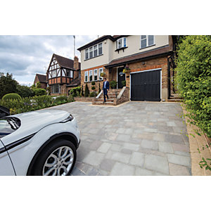 Marshalls Magnasett Textured Driveway Block Paving Pack Mixed Size - Silver Dusk 7.88 m2