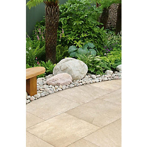 Marshalls Symphony Smooth Buff 595 x 595 x 20mm Porcelain Paving Slab - Pack of 64