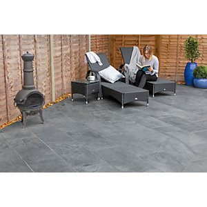 Marshalls Casarta Slate Textured Black Paving Slab 400 x 400 x 20 mm - 16m2 pack