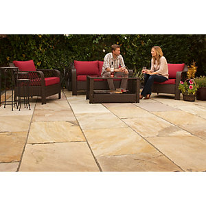 Marshalls Indian Sandstone Textured Buff Multi Paving Slab 275 x 275 x 22 mm - 9.68 m2 pack