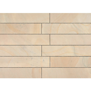 Marshalls Sawn Versuro Smooth Golden Sand Paving Slab 845 x 140 x 22 mm - 11.83m2 pack