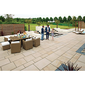 Marshalls Sawn Versuro Smooth Caramel Cream Paving Slab 1200 x 1200 x 30 mm - 11.52m2 pack