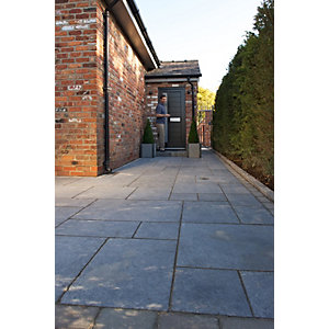 Marshalls Indian Sandstone Textured Grey Multi Paving Slab 845 x 560 x 15-25mm - Pack of 37